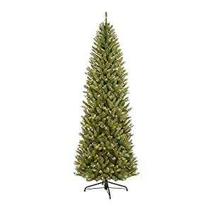 Puleo International 10-Foot Pre-Lit Fraser Fir Pencil, 2436 Tips, 650 UL Clear Lights,Extension Cord, Hinged, Metal Stand Artificial Christmas Tree, Ft, Green 3