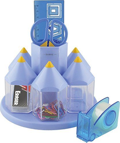 EXERZ EX058 O-Life Organizador de Escritorio Giratorio, Portalapices conjunto con 5 Cajas para Accesorios - Multicolores – Equipado con Tijeras de Seguridad (NO afilada), Regla, Dispensador de Cinta, Goma de Borrar, Clips (Azul)