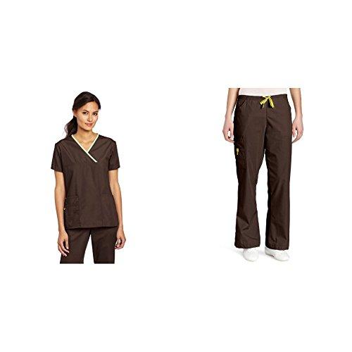 Brown Shirt Grey Pants - WonderWink Origins: Charlie Y-Neck Fashion Top & Romeo 6 Pocket Flare Leg Pant