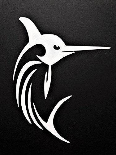 Swordfish Marlin Deep Sea Fishing Vinyl Decal Sticker|WHITE|Cars Trucks Vans SUV Laptops Walls Glass Metal |5.5