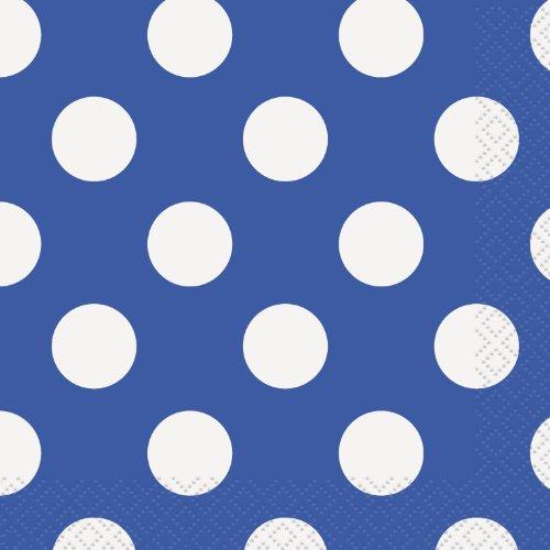 Royal Blue Polka Dot Beverage Napkins, -