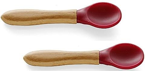 Avanchy Spoon Baby Toddler Organic Bamboo Feeding Spoons. Soft Tip Utensils, Bpa Free Silicone Feeding Set. 2 Pack, 5.5