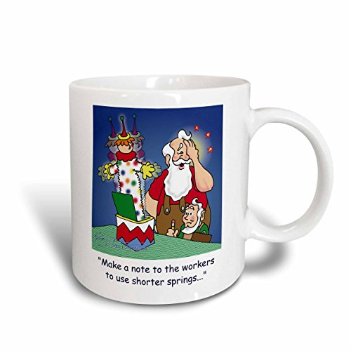 3dRose Larry Miller Cartoon About Santa Working on Toys for Christmas Ceramic Mug, 11 oz, White