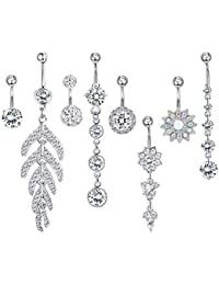 8pcs Stainless Steel Belly Button Rings for Womens Girls Navel Rings Barbell Dangle Acrylic CZ Flower Body Piercing...
