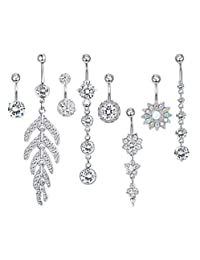 Milacolato 8-10pcs Stainless Steel Belly Button Rings for Womens Girls Navel Rings Barbell Dangle Acrylic CZ Flower Body Piercing Jewelry