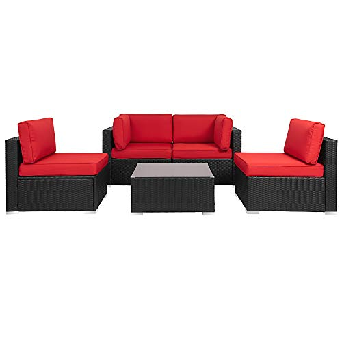 Walsunny 5pcs Patio Outdoor Furniture Sets,All-Weather Rattan Sectional Sofa with Tea Table&Washable Couch Cushions (Black Rattan) (Red)