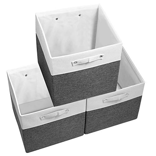 Vextronic Cube Storage Bins 13×13 Set of 3 Large Fabric Storage Bins with Dual Handles & Solid Baseboard, Cube Storage…