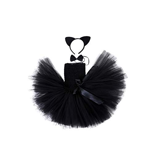 Adorable Girl Tutu Dress 1-10 Year Children Knee Length Halloween Cat Cosplay Costume Clothes Set for Kids,10 -