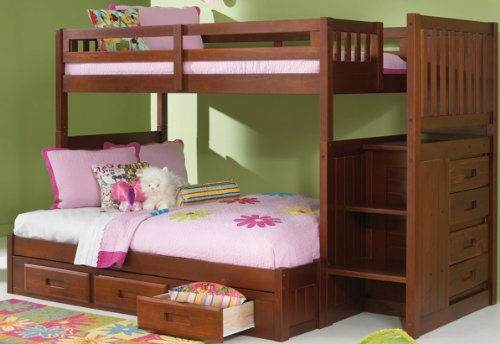 Mission Twin Over Full Staircase Bunk Bed with 3 Drawers, Desk, Hutch, Chair and 5 Drawer Chest in Merlot Finish (Mission Chest Drawer 3)