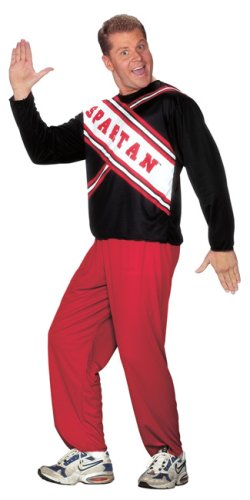 Mens Spartan Cheerleader Costume (Standard, Black,Red)