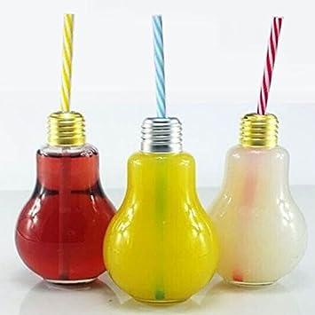 6 Kunststoff Trinkgläser Trinkglas im Glühbirnen Design Party LED Trinkhalm