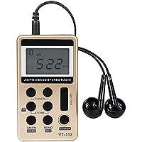 SR-8 AM FM Pocket Radio,Portable Digital Tuning AM/FM Stereo Radio for Walking/Exercise/Running(Gold)