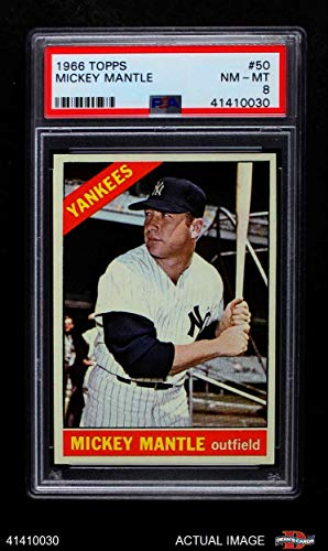 2747d916d Amazon.com  1966 Topps   50 Mickey Mantle New York Yankees (Baseball Card)  PSA 8 - NM MT Yankees  Collectibles   Fine Art