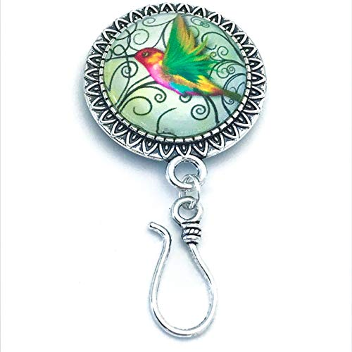 Hummingbird Portuguese Knitting Pin Brooch- ID Badge Holder (Silver Portuguese Jewelry)