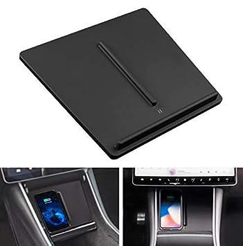ABREOME Cargador Inalámbrico Qi para Consola Central Tesla Model 3,Cargador Inalámbrico Rápido con Puertos USB Duales,Qi Cargador Inalámbrico ...