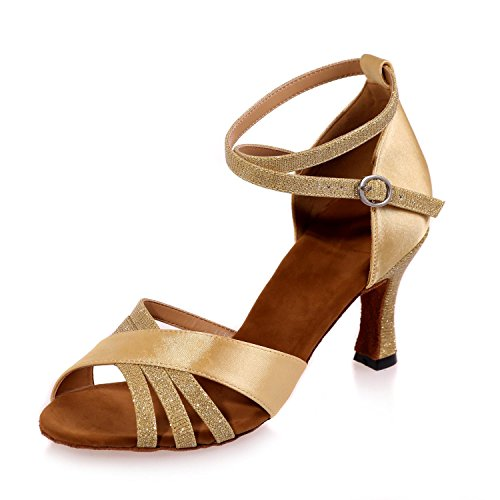 Baile Cuero L De Zapatos Personalizable Gold Con Marrón Latino Multicolor Alto yc Mujer Tacón qAtqUw