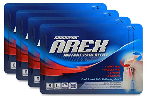 SINSINPAS AREX Cool & Hot Pain Relieving Patch, Large 4 Pack (24 Patches Total)