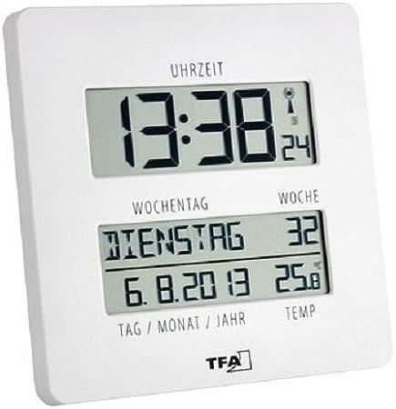 TFA Reloj Digital de Pared Blanco con termómetro: Amazon.es: Hogar