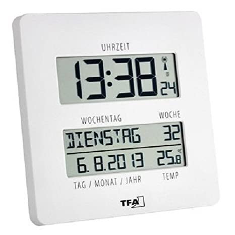7ec6abafc4e9 TFA Reloj Digital de Pared Blanco con termómetro  Amazon.es  Hogar