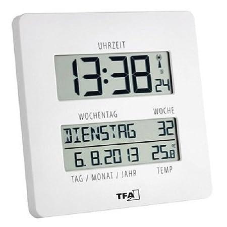 TFA Dostmann Time Line Digitaluhr, Funkuhr mit Temperatur, Wanduhr digital, mit Wochentag und Datum, weiß, 60.4509.02