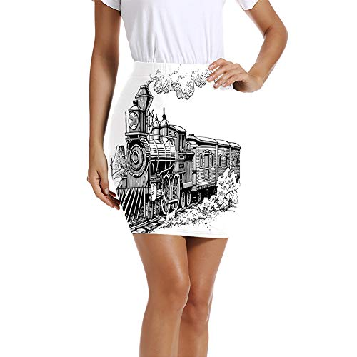 Women's Pencil Skirt,Rustic Old Train in Country Locomotive Wooden Wagons Rail Road with Smoke L (Wagon Float Christmas)