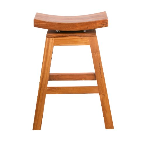 Cheap 24″ Counter Height Swivel Stool in Solid Teak