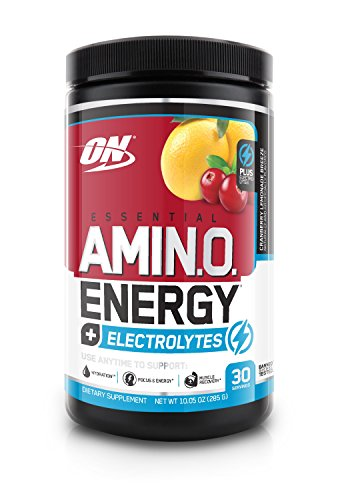 ESSENTIAL AMINO ENERGY + Electrolytes by Optimum Nutrition, with Amino Acids & Caffeine for Recovery, Hydration & Energy, Cranberry Lemonade Breeze, 30 serve