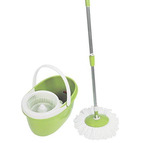 360° Rotating Head Easy Magic Floor Mop Bucket 2 Head Microfiber Spinning Green + FREE E-Book
