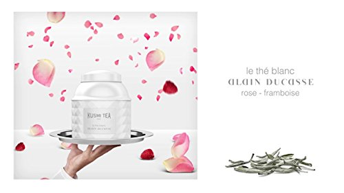 Kusmi Tea Paris - Premium Luxury Teas - WHITE TEA Rose Raspberry by Alain Ducasse - 120gr / 4.23oz - Lacquered White tin by Kusmi Tea Paris (Image #1)