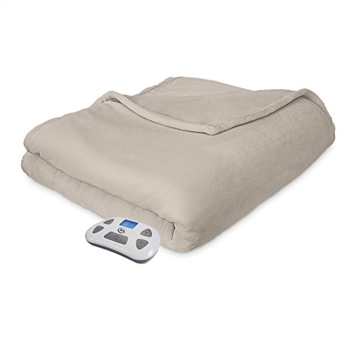 Serta Heated Electric Comfort Plush Blanket with Programmable Digital Controller,  Full, Sand Model 0917 Controller Heated Electric Full Blanket