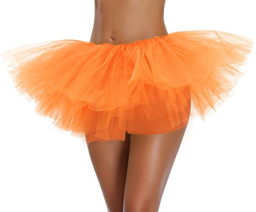 v28 Women's Teen Adult Classic 5 Layered Full Tulle Tutu Skirt (One Size, Orange 5Layer)]()