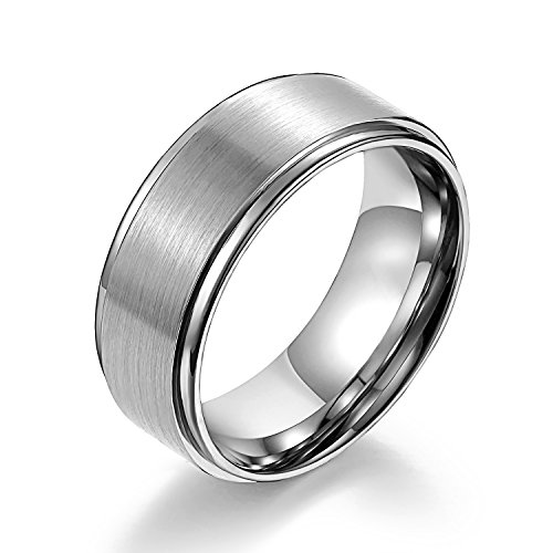 Center Titanium Wedding Band (Matte Raised Center Titanium Wedding Bands with High Polish Step Edges White Couple Rings Tungsten Bands 8mm (13.5))