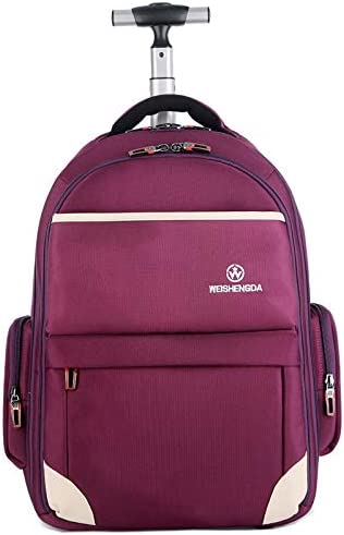 Funny Special Large Storage Laptop Students Multifunction Waterproof Wheeled Rolling Backpack,19 inch Purple