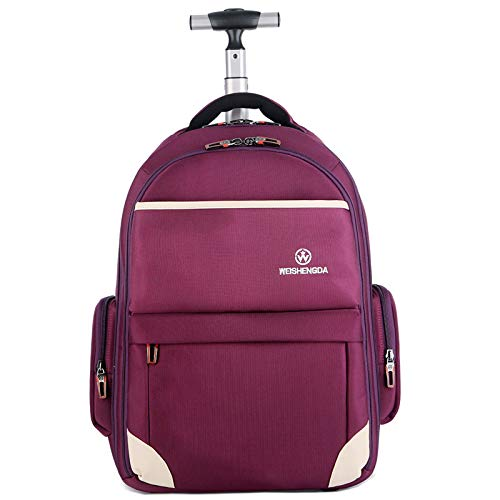 Funny & Special Large Storage Laptop Students Multifunction Waterproof Wheeled Rolling Backpack,19 inch (Purple) ()