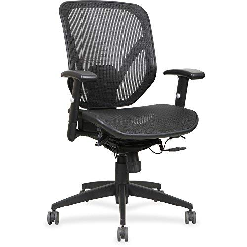 Lorell Mesh Seat/Back Mid-Back Chair, Black ()
