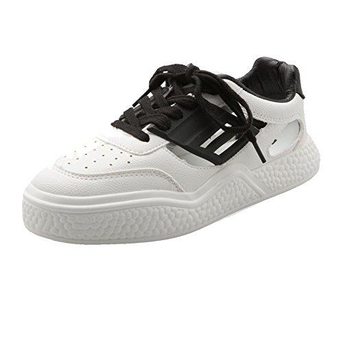 40 Low heels Pu Black shoes Lace Women's Pumps up Solid Odomolor 4wqR7R