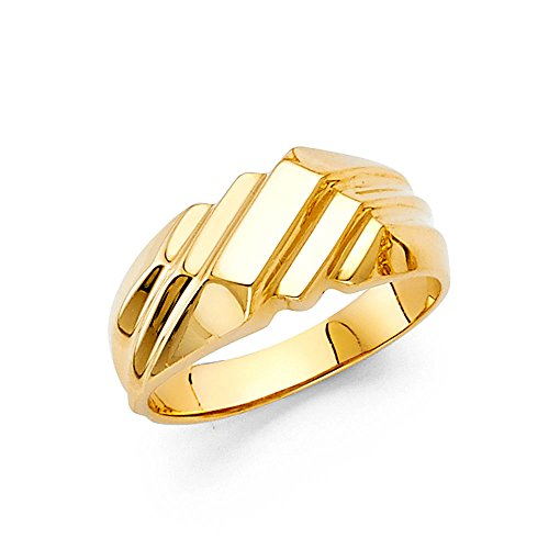 Ioka - 14K Yellow Solid Gold Stripped Nugget Ring - size 4 (Yellow Ring Nugget Gold)