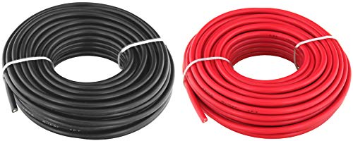 16 Ga (True American Wire Gauge) OFC Oxygen Free Copper Primary Wire. Red & Black Bundle in 25 Feet Roll (50 ft Total). for Car Audio Speaker Amplifier Remote Hook up Trailer Wiring