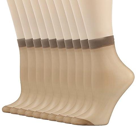 Short Nylon Socks, INCHER Office Gift For Women Silk Reflections Ankle High Tights Hosiery Short Socks Pantyhose For Sex Women's 10 Pairs (Ankle High Hose)