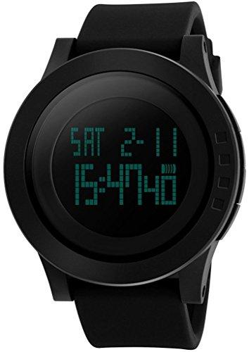 So siehe Herren 's 50m Wasserdicht Silikon Gurt schwarz LCD Digital Multifunktions Alarm Stoppuhr Sportuhr, Herren, schwarz