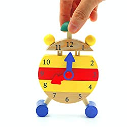 DreamsEden Mini Wooden Learning Clock Toy - Educational Fine Motor Skills Modular Toy