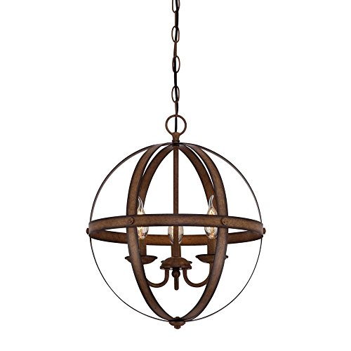 Westinghouse Lighting 6353600 Stella Mira Pendant, Three-Light, Barnwood