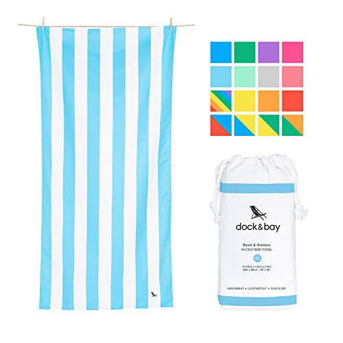 Fast Dry Beach Towels Compact - Light Blue, Extra Large 78x35 - fast drying towel for traveling, beach towel set by Dock & Bay