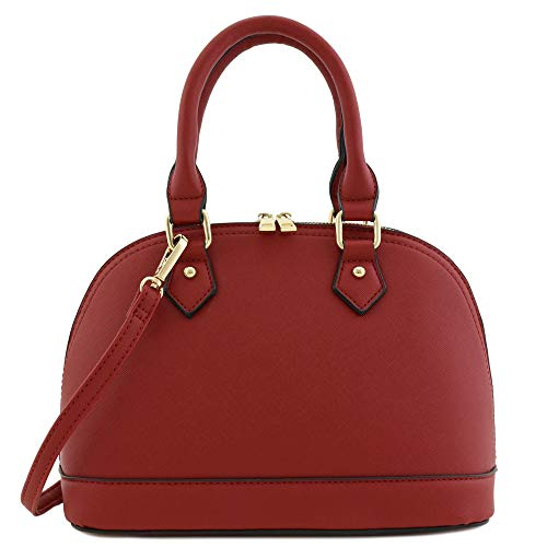 Zip-Around Saffiano Classic Dome Satchel Red
