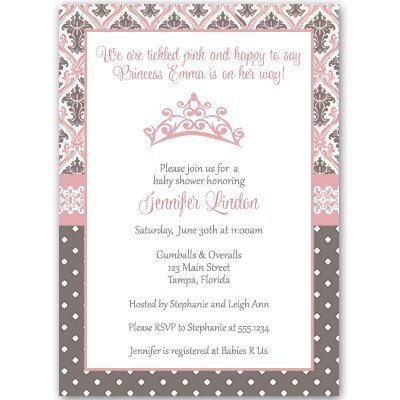 Regency Princess, Baby Shower Invitation, Pink, Brown, Damask, Crown, 10 Custom Printed Invites with White Envelopes, FREE - Invitations Shower Princess Baby