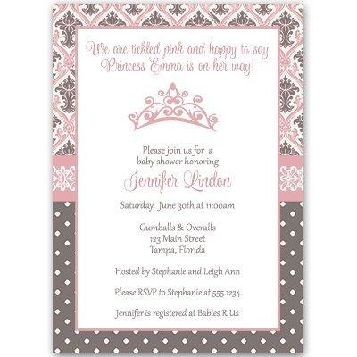Regency Princess, Baby Shower Invitation, Pink, Brown, Damask, Crown, 10 Custom Printed Invites with White Envelopes, FREE - Shower Invitations Princess Baby