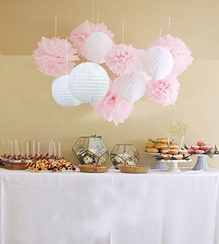 Anokay 12er Set Seidenpapier PomPoms Wabenbälle Laterne Lampion rund Lampenschirm weiß rosa Hochzeit Party Dekoration
