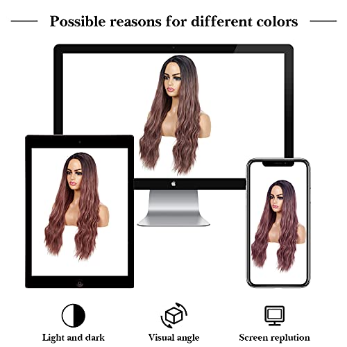 UHIBROS Purple Wigs For Women Long Body Wave Wig Middle Part Ombre Purple Curly Wavy Wigs Synthetic Hair Heat Resistant Fiber Wig For Cosplay Daily Party Use(26 Inch )