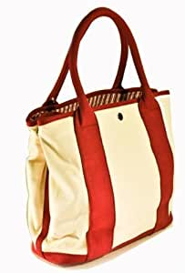 Satchels New York 5170RS Small Cream/Burgundy Tote Bag