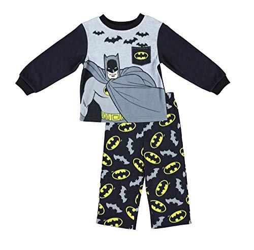 DC Comics Boys Batman Pajamas - 2-Piece Long Sleeve Pajama Set (Grey/Black, 2T)